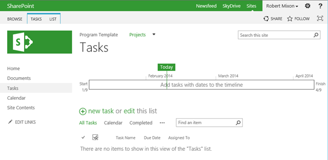 Sharepoint 2013 task management bob mixon 39 s musings for Sharepoint task list template