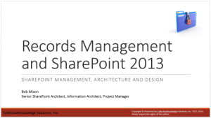 SMPDA - Records Management and SharePoint 2013 - Slide 1