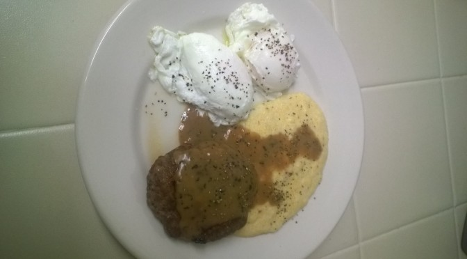Country Sausage and Gravy, Grits and Poached Eggs